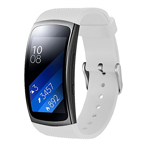 For Samsung Gear Fit2 Pro Watch Band/Samsung Gear Fit 2 Band, Replacement Bands Accessories Strap Bracelet for Samsung Gear Fit 2 Pro SM-R365/ Fit2 SM-R360 Smartwatch (White) (Gear Fit 2 Pro Vs Gear Fit 2)