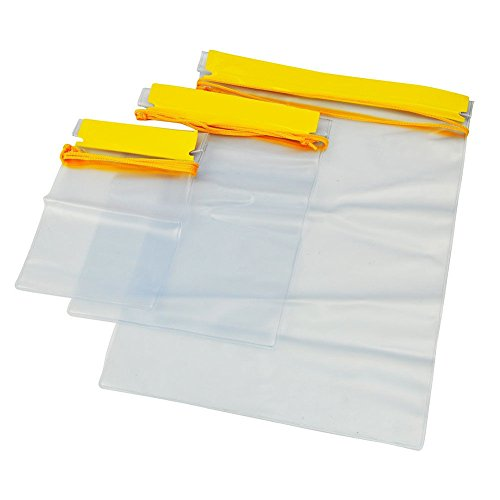 (Meetory Clear Waterproof Bags Pouch Dry Bags for Camera Mobile Phone Maps Kayak Document Holder - 3 Piece Set Waterproof Plastic Pouch Utility Bags)