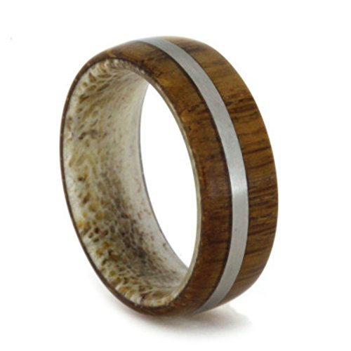 Lyptus Wood, Matte Titanium 6.5mm Comfort-Fit Deer Antler Band, Size 9.75 by The Men's Jewelry Store (Unisex Jewelry)