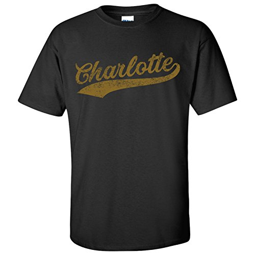 UGP Campus Apparel Charlotte City Baseball Script Basic Cotton T-Shirt - 3X-Large - - Charlotte Baseball