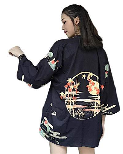 [사유무] 숙녀 봄 여름 가디건 아웃웨어 일본계 하라주쿠 바람 일본식 얇은 기모노 자외선 차단 학생 느긋 패션 간단한 넉넉하게 패션 심플
