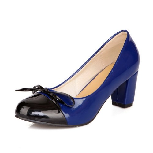 VogueZone009 Girls Closed Round Toe Kitten Heel Patent Leather PU Solid Pumps with Bowknot Blue l3PQ1CSy9