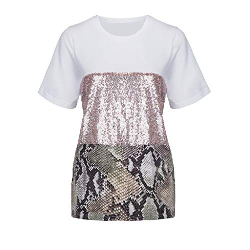 Fashion Womens Pacthwork Leopard Print Sequin Sleeve Tee Casual Blouse Top Pink ()