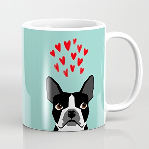 Boston Terrier Hearts Cute Funny Dog Cute Aalentines Dog Pet Cute Animal Dog Love Mugs Funny Birthday Gifts for Women Inspirational Coffee Mug Gift for Friend Men Novelty Mug Cup for Mom 11 OZ