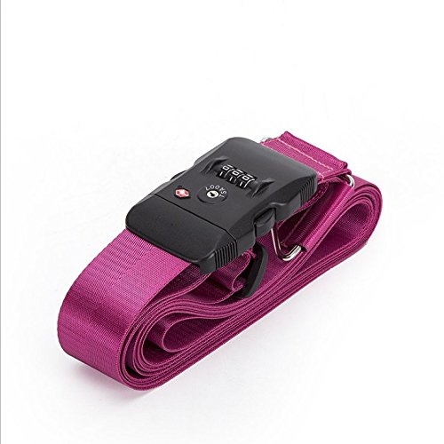 Nylon Luggage Strap with Lock Travel Suitcase Belts (Pink) by SiHarbor
