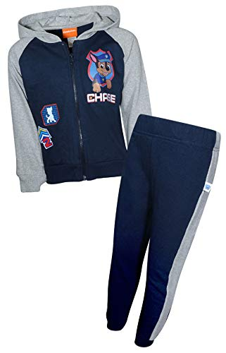 Nickelodeon Paw Patrol Boys 2-Piece Fleece Zip-up Hoodie Jogger Set (Toddler/Little Kid) (Navy/Heather Grey Chase, 4)'