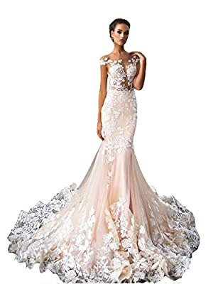 Yahmet Women's See Though Floral Applique Lace Sleeves Open Back Mermaid Wedding Gown