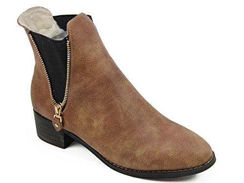 Quality eu Chelsea Boots Brown Womens Uk Velvet Fur Leather Beige Coffee 40 Size 7 Lined OBOwzq8r