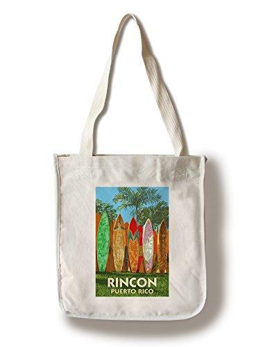 Lantern Press Rincon, Puerto Rico - Surfboard Fence (100% Cotton Tote Bag - Reusable)
