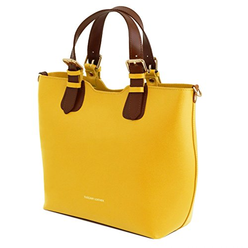 Tuscany Leather TL Bag Borsa a mano in pelle Saffiano Giallo Giallo