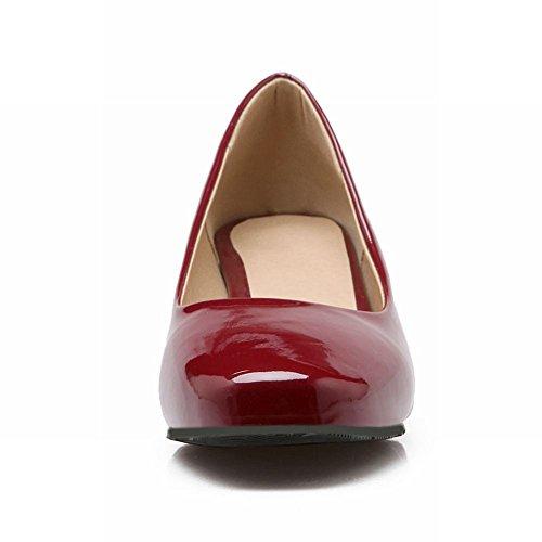 Latasa Mujeres Fashion Sintético De Charol Square-toe Tacón Medio Bombas Chunky Zapatos Dark Red