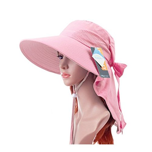 AUCH Adjustable Quick-drying Outdoor UV Spf 50+ Large Brim Visor/Boonie/Sand Beach Sun Hat with Net Protection for Women w/ Horsetails(Pink)