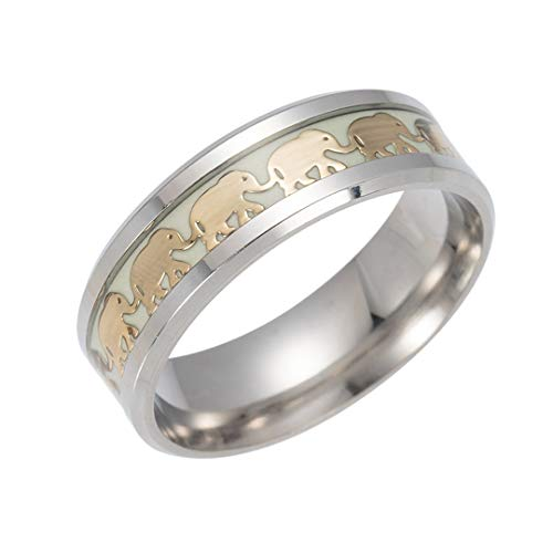 QuaQui Luminous Plated Silver Ring Dark Golden Dragon Inlay Green Background Fluorescent Glowing Rings Gold5 9