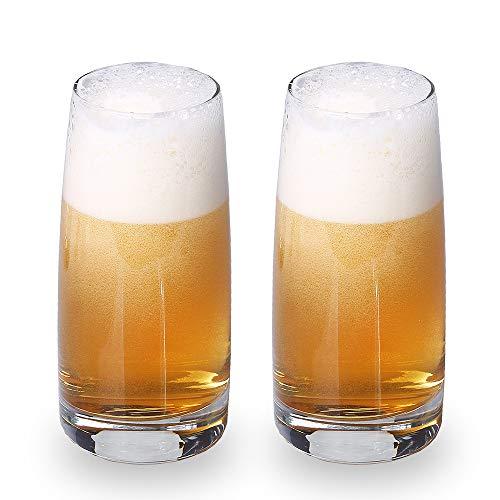 Beer Glasses for Beer Lovers-Premium Pilsner Glasses,Wheat Beer Glasses Crystal Clear-Great for Pubs, Bars, Restaurants-Set of 2 (17.5 oz)