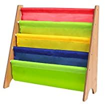 HOMFA Kids Book Rack Storage Sling Bookshelf Toy Display, Espresso / Primary