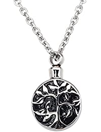 Tree of Life Cremation Urn Jewelry Necklace & Pendant for Ashes w/ Funnel Filler Kit Black