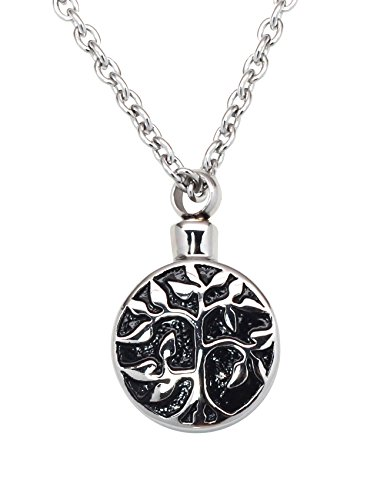 Tree of Life Cremation Urn Jewelry Necklace & Pendant for Ashes w/Funnel Filler Kit Black