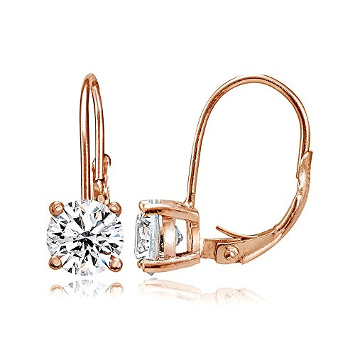 Rose Gold Flashed Sterling Silver Created White Sapphire 6mm Round Leverback Earrings (Drop Sapphire Gold)