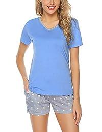 Hawiton Women's Cotton Short Sleeve Pajamas Set Sleepwear Dot Pattern Bottom Lounge Nightgowns
