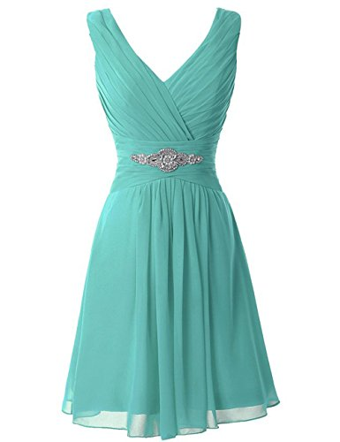 Manfei Women's V-Neck Chiffon Short Bridesmaid Dress Party Dress Aqua Size 8