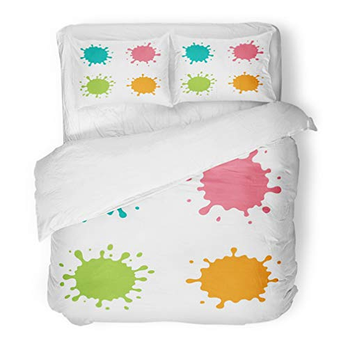 Emvency Bedding Duvet Cover Set Twin (1 Duvet Cover + 1 Pillowcase) Blue Pink Orange Green Blob with Cute Cartoon Color Paint Splashes Splatters Spot Hotel Quality Wrinkle and Stain Resistant -