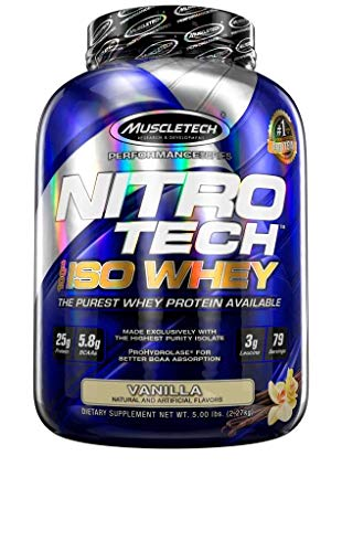 - MuscleTech NitroTech Iso Whey Isolate Protein Powder, 25g of Whey Protein Per Scoop - The Purest Whey Protein Formula Available - Vanilla, 53 Servings (4lbs)