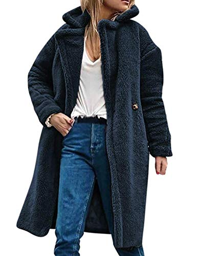 Kaimu Women Winter Warm Notched Collar Button Artificial Fur Coat Outwear Faux Leather Navy Blue (Notched Collar Fur Coat)