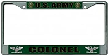 U.S Army Colonel Chrome Photo License Plate Frame