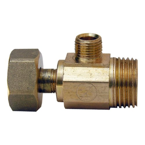 Slip Joint Tee - LASCO 06-9117 Angle Stop Add-A-Tee Valve, 1/2-Inch Slip Joint Inlet X 1/2-Inch Slip Joint Outlet X 1/4-Inch Compression Outlet, Brass