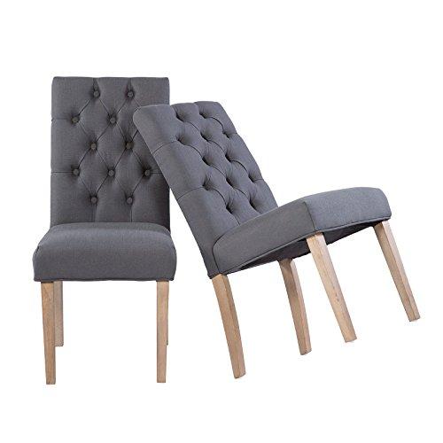 Esszimmerstuhl 2er Set Küchenstühle Stoff grau mit Knöpfen und Vintage Holzfüße