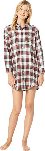 - Lauren Ralph Lauren Women's Brushed Twill His Shirt Sleepshirt Ivory Plaid Large