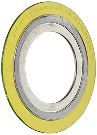 Pack of 96 for 1//2 Pipe of NJ for 1//2 Pipe Supplied by Sur-Seal Inc Pressure Class 300# Sterling Seal 9000IR.500304GR300X96 304 Stainless Steel Spiral Wound Gasket with 304SS Inner Ring and Flexible Graphite Filler Yellow with Grey Stripe