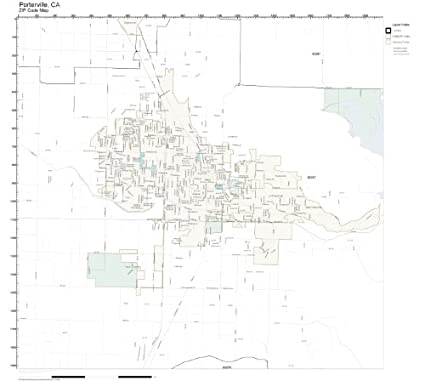 Amazon.com: ZIP Code Wall Map of Porterville, CA ZIP Code Map ...