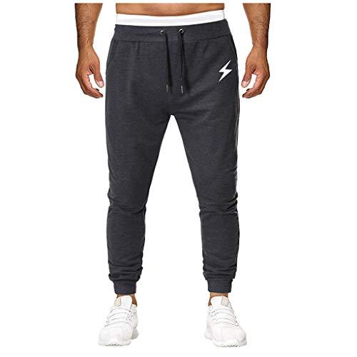 ♞Deadness-Mens Men's Casual Jogger Sweatpants Basic Training Jogger Pant Drawstring Athletic Trousers Dark Gray -