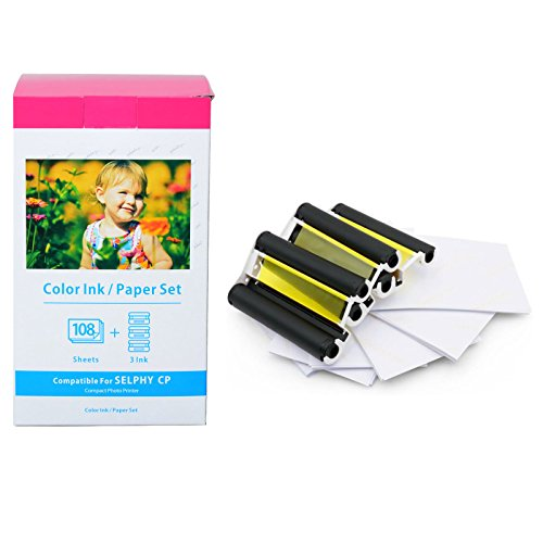 (GREENCYCLE 1 Pack for Canon KP-108IN Ink Paper Set 3 Color Ink Cassette and 108 Sheets 4 x 6 Paper Glossy For SELPHY CP1300 CP1200 CP910 CP900 CP760 CP770 CP780 CP800 Wireless Compact Photo Printer)