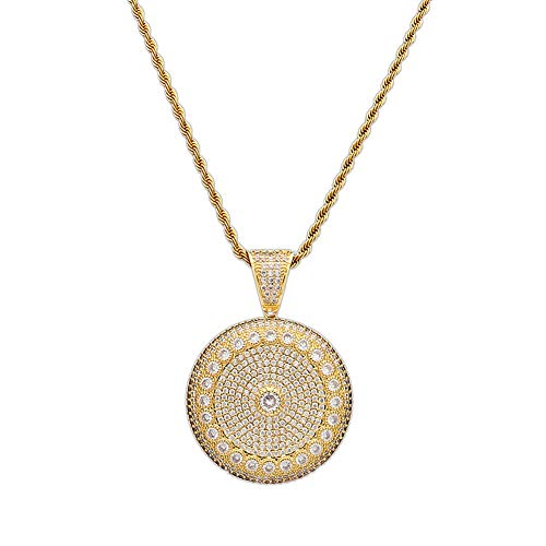 Nsitbbuery Hip Hop DJ 18K Gold Ice Out Crystal Sunflower Medallion Pendant Stainless Steel Chain Necklace(Gold) ()