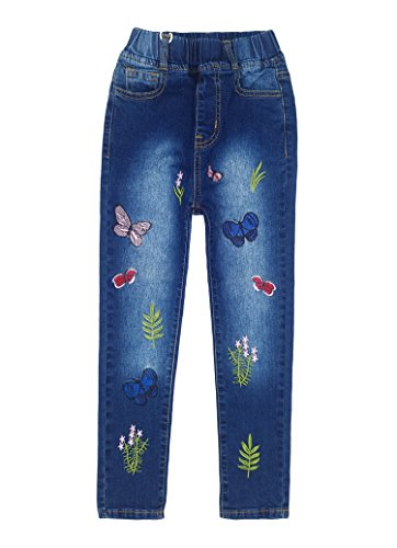 Kidscool Big Girls Embroiderd Butterfly Grass Jeans Pants,Blue,6-7 Years
