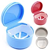 WSERE False Tooth Retainer Case Teeth Holder Denture Case Cup Leakproof Storage Box Container with Strainer for Travel Cleaning or Overnight Soaking