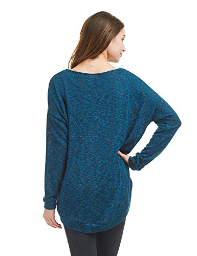 WT1461 Womens Long Sleeve High Low Loose Knit Sweater Top M Teal_Black by Lock and Love (Image #3)