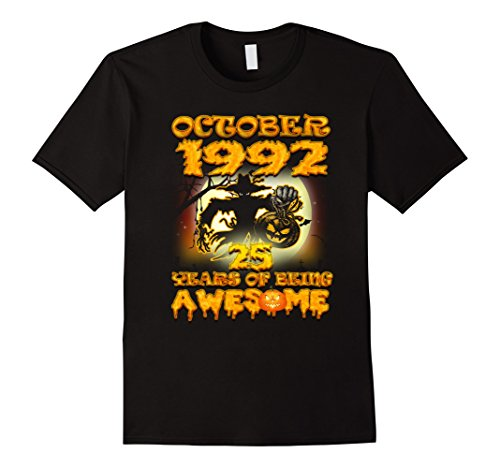 Mens October 1992 - 25th Birthday Gifts Funny Tshirt Large (Halloween October 25th)