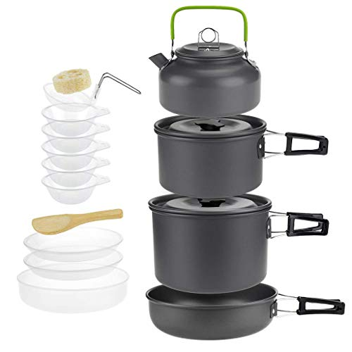 Pstars Outdoor Camping Cookware Combination Portable Cookware Tableware Folding Cookset for Hiking Backpacking Picnic Bowl Pot Pan Set Outdoor Cook Equipment