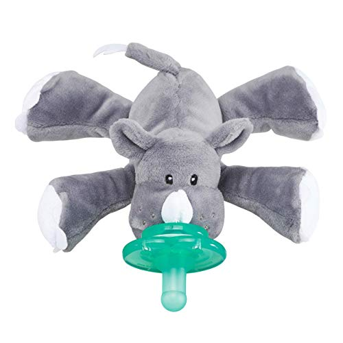 Nookums Paci-Plushies Buddies - Rhino Pacifier Holder - Plush Toy Includes Detachable Pacifier, Use with Multiple Brand Name Pacifiers ()