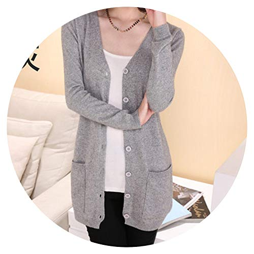 (Summer-lavender Lady Wool Sweater Medium Long Cashmere Cardigan Women Loose Sweater for Outerwear,Gray,M)