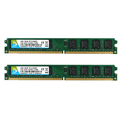 (DUOMEIQI 4GB Kit(2X 2GB) 2RX8 DDR2 800MHz DIMM PC2-6300 PC2-6400 PC2-6400U CL6 1.8v 240 Pin Non-ECC Unbuffered Desktop Memory RAM Module Compatible with Intel AMD System-Narrow Board)
