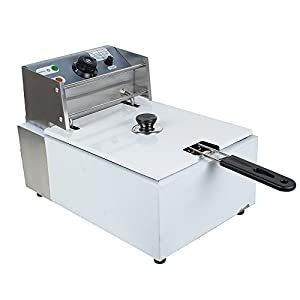 Zinnor 5.5L Electric Countertop Deep Fryer, Commercial Stainless Steel Single Tanks Basket Timer French Fry Machine Restaurant Kitchen 2500W