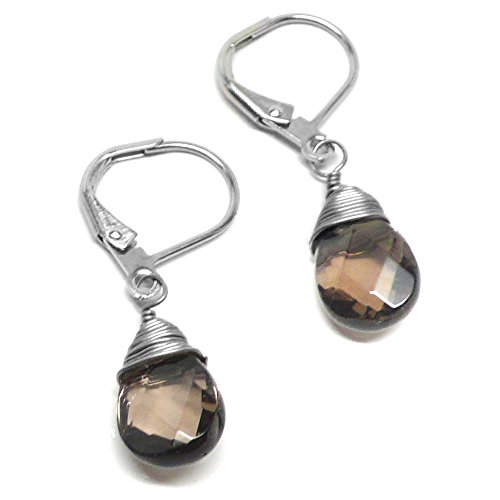 - Created Smoky Quartz Briolette Copper Gunmetal Brass Lever Back Earrings Wire-Wrapped