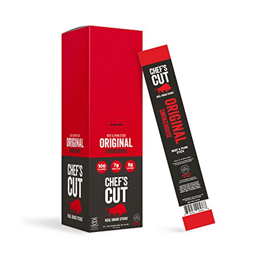 Chef's Cut Real Snack Beef and Pork Original Smokehouse Sticks - Premium Cuts, Gluten & Nitrite Free - Keto & Paleo Friendly, 1 Ounce (16 Count)