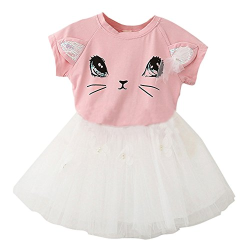 Fedi Apparel Toddler Girls Party Strip Shirt Tutu Dress Cat Top Tulle Skirts Set (5-6 Years(Tag XL), Cat Pink)
