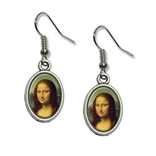 Mona Lisa Painting by Leonardo da Vinci Novelty Dangling Drop Oval Charm Earrings