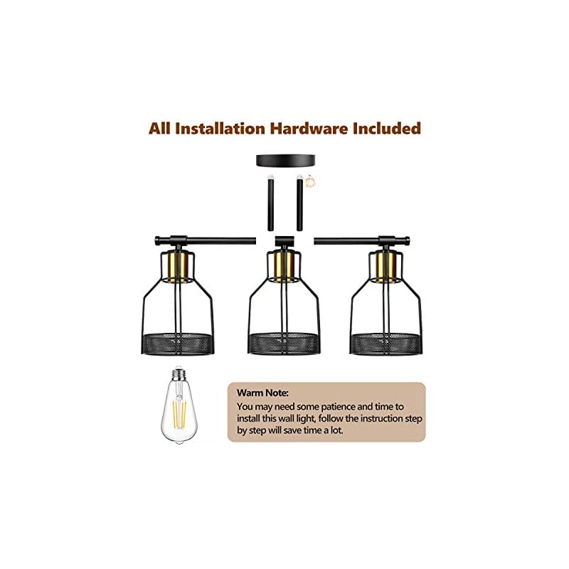 3-Light Farmhouse Bathroom Vanity Light Fixtures, Industrial Black&Gold Cage Vanity Wall Light Fixture, Rustic Wall…